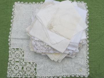 vintage fine cotton and linen hankies, lot whitework lace handkerchiefs