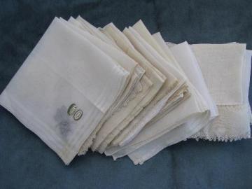 vintage fine cotton & linen hankies, lot whitework lace handkerchiefs