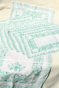 vintage fine linen place mats & table runner, white w/ Irish green border print