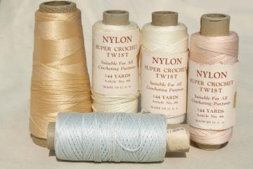 vintage fine nylon thread for crochet, sewing, embroidery, pale pastel colors