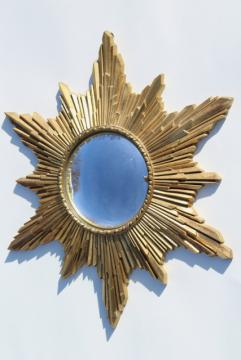 vintage fish eye convex bubble dome glass mirror, gold rococo starburst sun burst frame