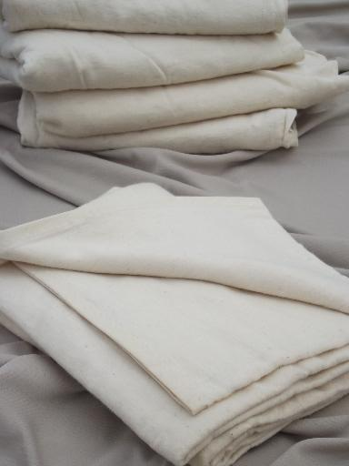 Vintage Flannel Camp Blankets Natural Unbleached Cotton