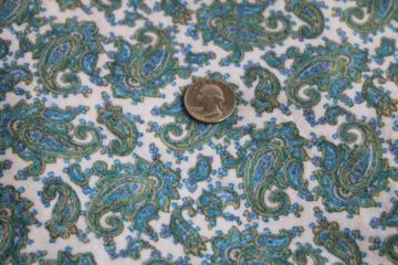 vintage flannel fabric w/ teal & blue paisley print, 100% cotton so soft