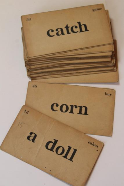 Vintage Flash Cards Early Reading Reader Words Retro 40s 50s Typography