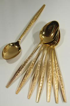 vintage flatware, Golden Bouquet gold electroplate silverware, set of 8 teaspoons