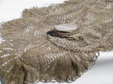 vintage flax linen lace table mats and table cover cloth, lacy crochet