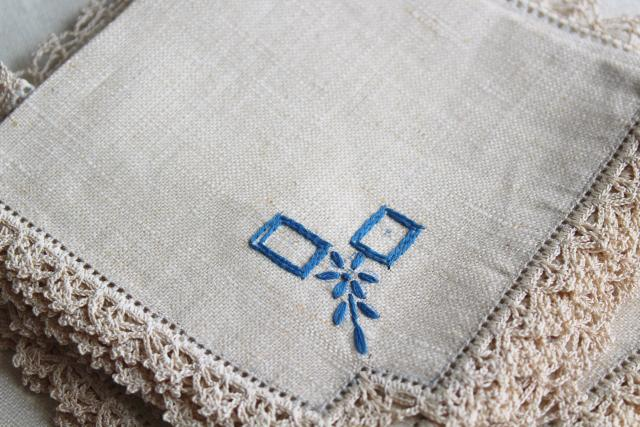 vintage flax linen tablecloths & napkins w/ blue cotton embroidery & handmade lace
