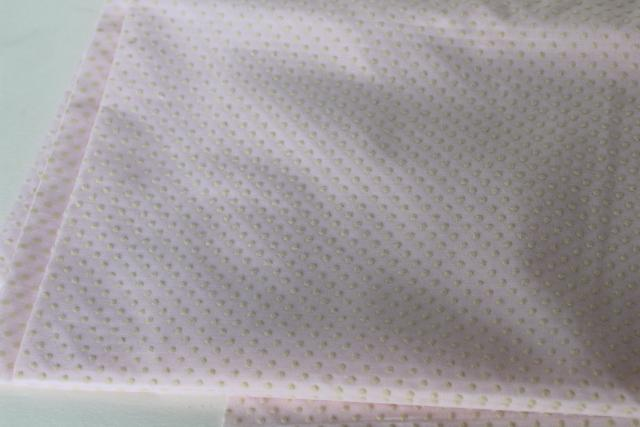 vintage flocked fabric, pindots on pale pink cotton crisp dotted swiss type material
