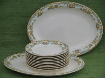 vintage floral border china, bread tray platters & 10 bread & butter plates