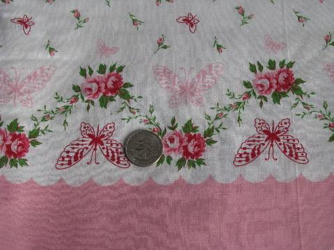 vintage floral border print cotton fabric for making pillowcases