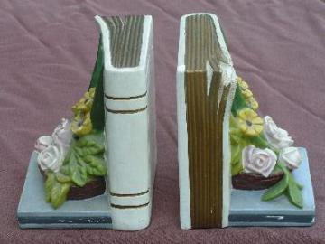 vintage floral bouquet bookends shabby chic chalkware