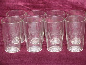 vintage floral etched pattern glass lemonade glasses, set 8 tumblers