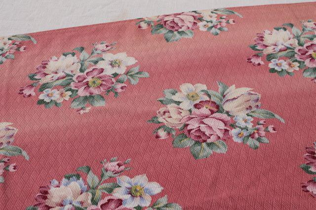 vintage floral print cotton barkcloth fabric, flowers on faded pink, shabby cottage chic
