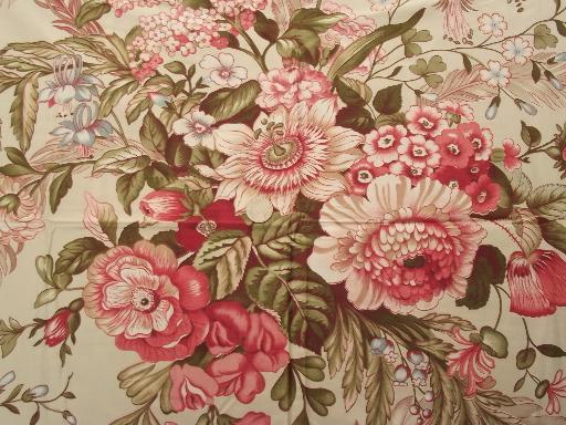 Vintage Floral Print Cotton Chintz Fabric Lot Crisp
