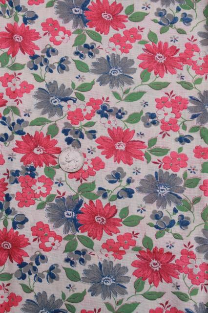 vintage floral print cotton feed sack fabric, pink & blue flowered feedsacks lot
