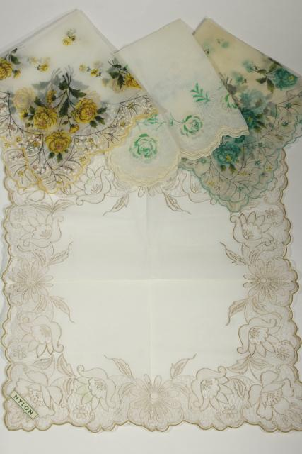 vintage floral print hankies, sheer nylon organza, pretty for party / wedding bunting flags