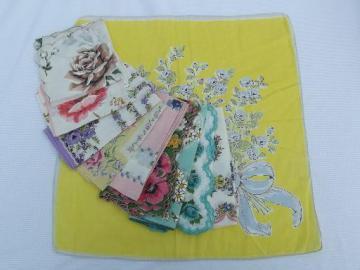 vintage floral printed hankies lot 10 flower print cotton handkerchiefs