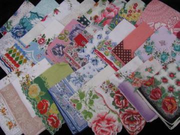 vintage floral printed hankies lot 25 flower print cotton handkerchiefs