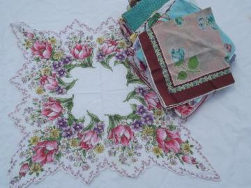 vintage floral printed hankies lot 50 flower print cotton handkerchiefs