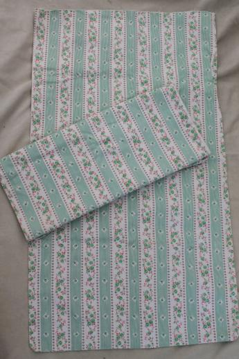 Vintage Floral Stripe Cotton Ticking Fabric Pillow Covers