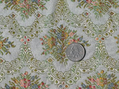 Vintage Floral Tapestry Upholstery Fabric Faded French Blue Color