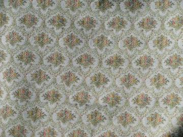 vintage floral tapestry upholstery fabric, faded french blue color