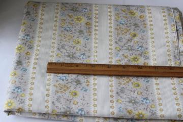 vintage floral ticking stripe cotton fabric, material for quilting or pillow covers