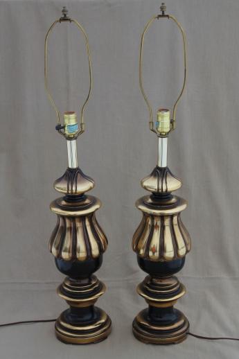 Vintage florentine gold black table lamp pair huge wood lamps for vintage florentine gold black table lamp pair huge wood lamps for three way bulbs aloadofball Image collections