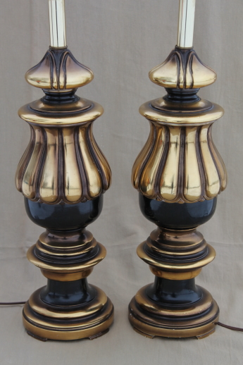 vintage florentine gold & black table lamp pair, huge wood lamps for three-way bulbs