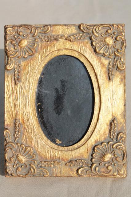 vintage florentine gold wood picture frame w flowers small easel