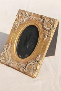 vintage florentine gold wood picture frame w/ flowers, small easel stand frame