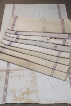 vintage flour sack towels, red & blue striped cotton antique grain sack fabric