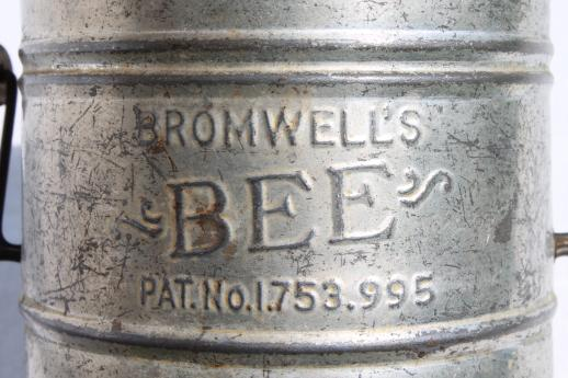 vintage flour sifter Bromwell's Bee w/ patent number from 1930, depression era kitchen tool