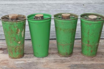 vintage flower holders, florist's buckets for cut flowers, cutting garden metal vases w/ french green paint