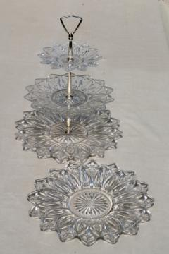 vintage flower petal Federal glass serving pieces & tiered plate cake stand sandwich tray