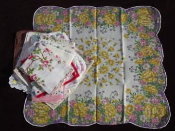 vintage flower print hankies lot, printed cotton handkerchiefs, all florals