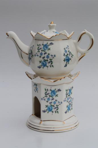 Vintage Flowered China Teapot W Candle Warmer Stand Buffet Table Tea Pot