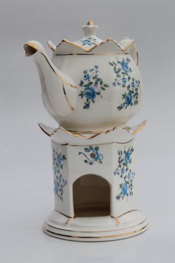 Vintage Flowered China Teapot W Candle Warmer Stand