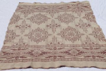vintage flowered wool blanket, Orr Health indian blanket in soft rose tan colors