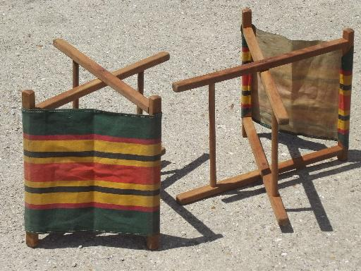 vintage folding wood camp stools, striped canvas camping seat stool set