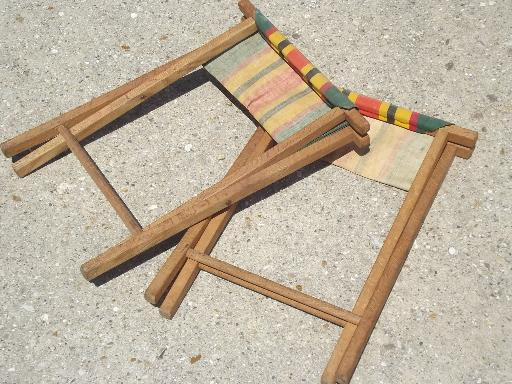 Vintage Folding Wood Camp Stools Striped Canvas Camping
