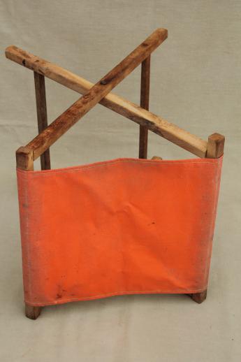 Vintage Folding Wood Stool Rustic Camp Furniture Portable