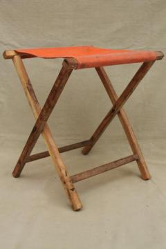 vintage folding wood stool, rustic camp furniture portable canvas seat