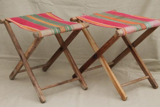 vintage folding wood stools, rustic camp furniture portable seats