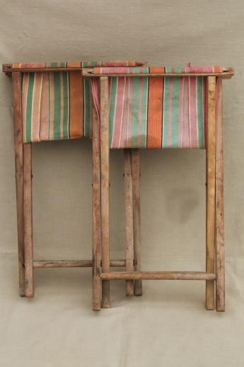Vintage Folding Wood Stools Rustic Camp Furniture Portable Seats