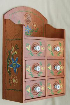 vintage folk art hand painted wood spice box, wall hanging cabinet w/ little drawers