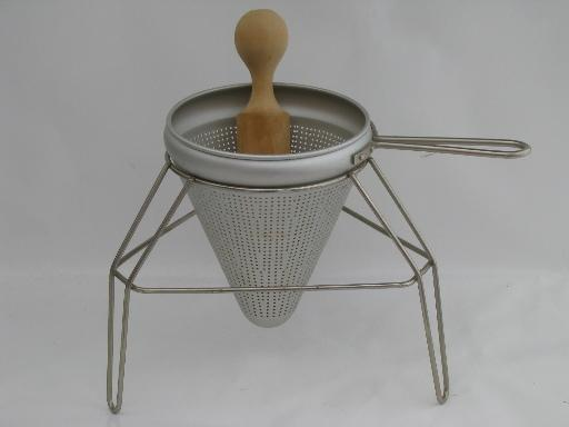 Vintage Food Mill Tripod Stand Strainer Sieve Cone And