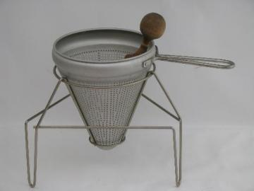 vintage food mill, tripod stand, strainer sieve cone and wood masher