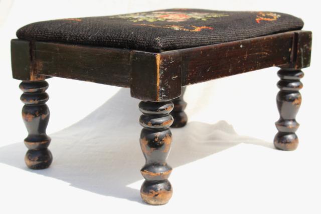 vintage footstool low stool w/ old needlepoint bench seat shabby turned wood legs & vintage footstool low stool w/ old needlepoint bench seat shabby ... islam-shia.org
