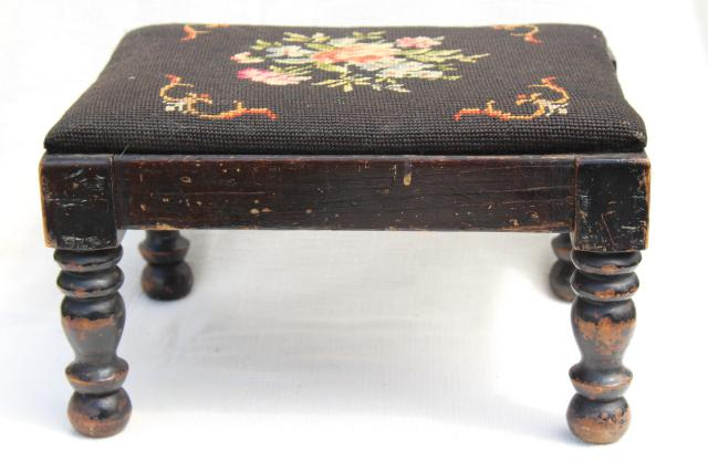 vintage footstool, low stool w/ old needlepoint bench seat, shabby turned wood legs